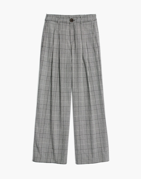 Pleated Wide-Leg Pants in Plaid in classic black image 4