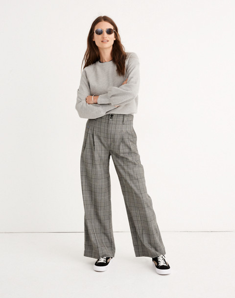 Pleated Wide-Leg Pants in Plaid in classic black image 1