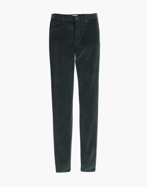 "10"" High-Rise Skinny Jeans: Stretch Velvet Edition in smoky spruce image 1"