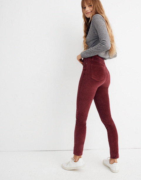 "10"" High-Rise Skinny Jeans: Stretch Velvet Edition in dusty burgundy image 3"