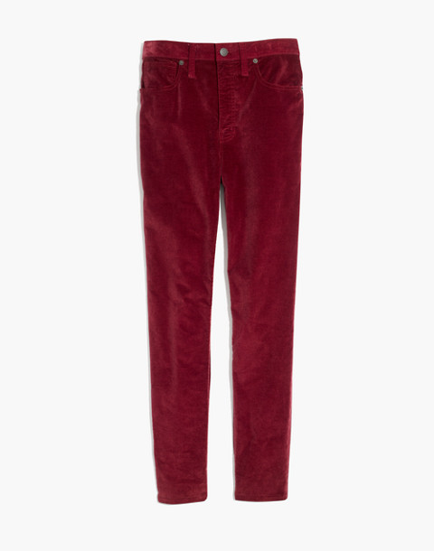"10"" High-Rise Skinny Jeans: Stretch Velvet Edition in dusty burgundy image 4"