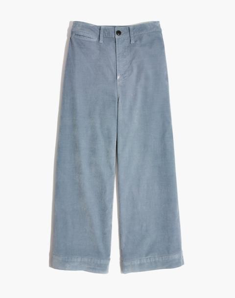 Emmett Wide-Leg Crop Pants in Velveteen in raindrop blue image 4