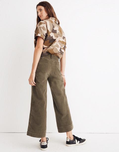 Tall Emmett Wide-Leg Crop Pants in Velveteen in kale image 2