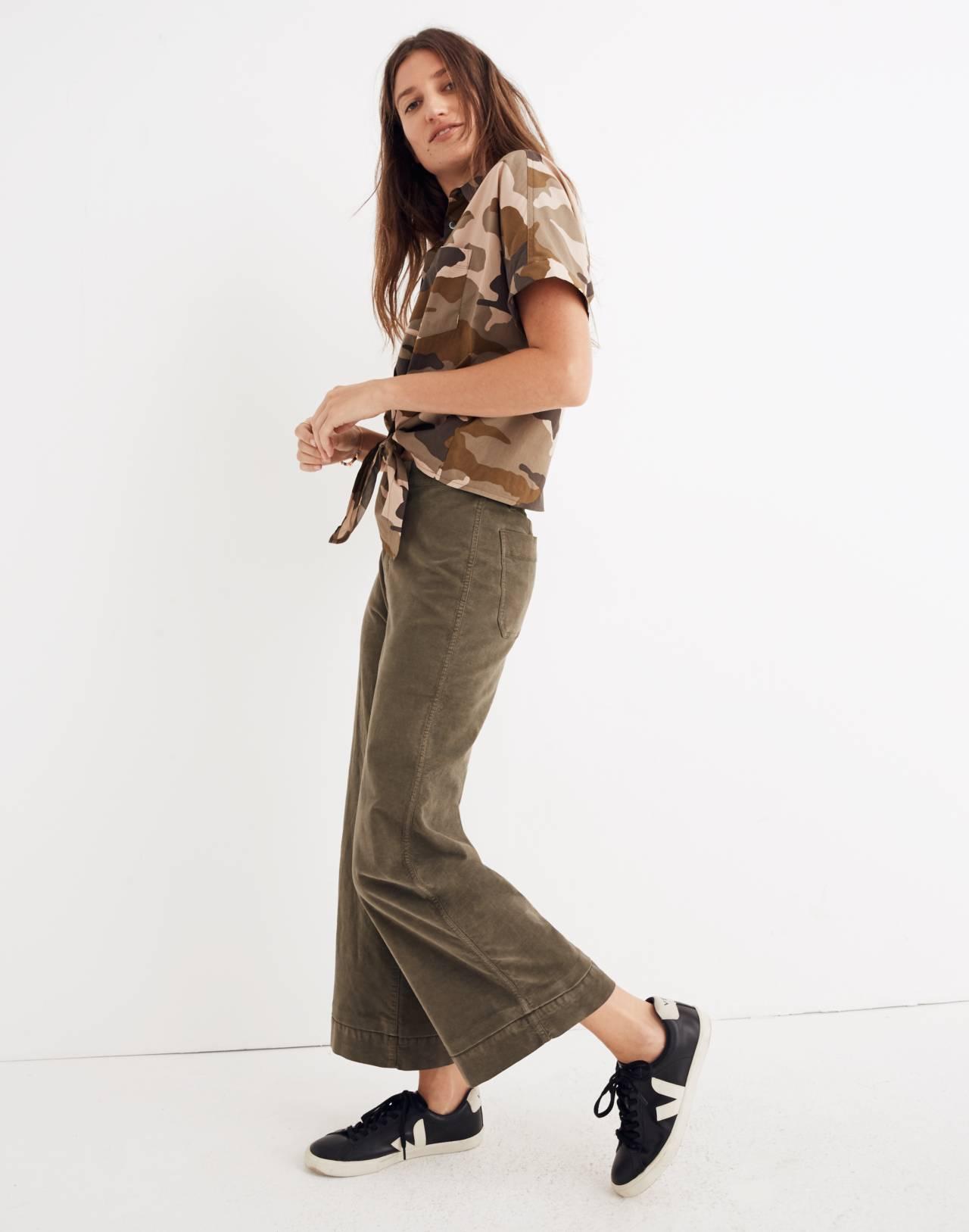 Tall Emmett Wide-Leg Crop Pants in Velveteen in kale image 3