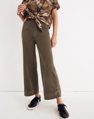 Tall Emmett Wide-Leg Crop Pants in Velveteen in kale image 1