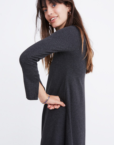 Long-Sleeve Swingy Tee Dress in hthr chimney image 2