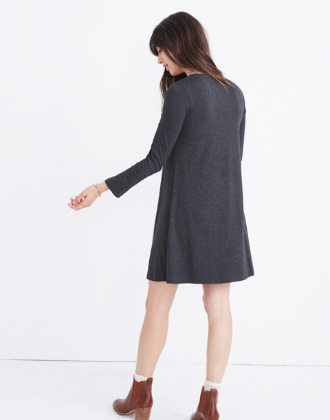 Long-Sleeve Swingy Tee Dress in hthr chimney image 3