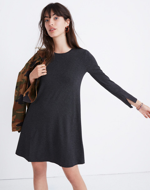 Long-Sleeve Swingy Tee Dress in hthr chimney image 1