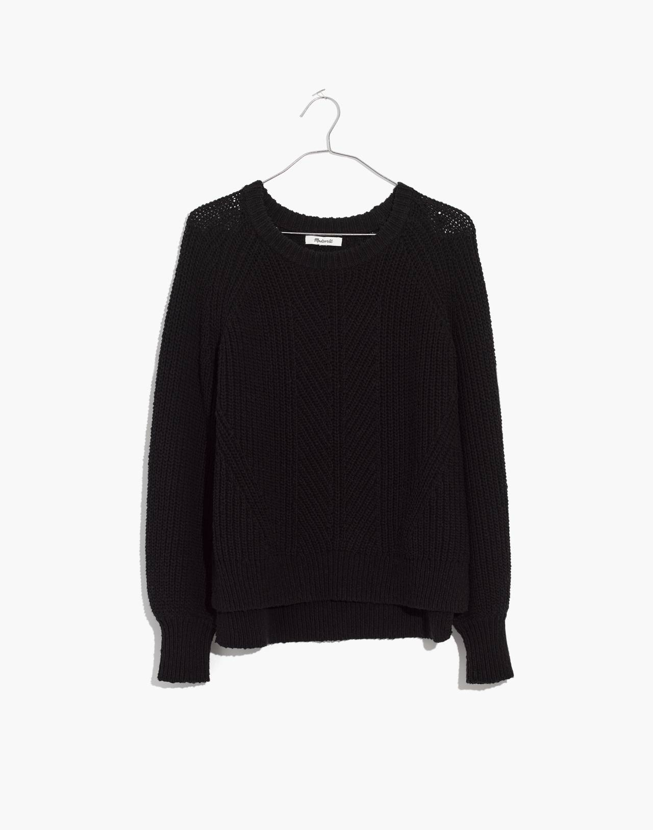 Balloon-Sleeve Pullover Sweater in true black image 1