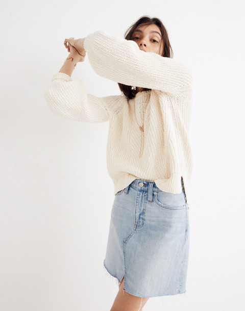 Balloon-Sleeve Pullover Sweater in bright ivory image 2