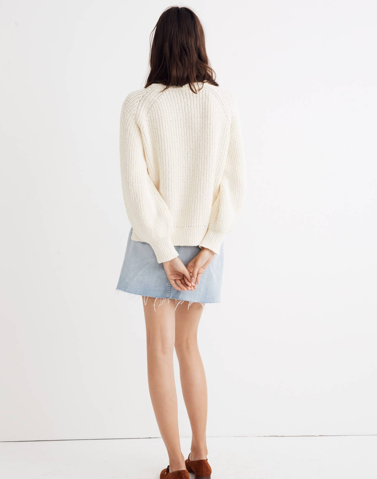 Balloon-Sleeve Pullover Sweater in bright ivory image 3