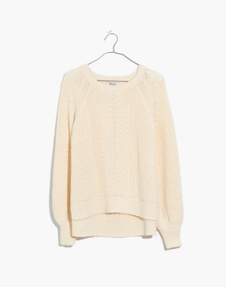 Balloon-Sleeve Pullover Sweater in bright ivory image 4