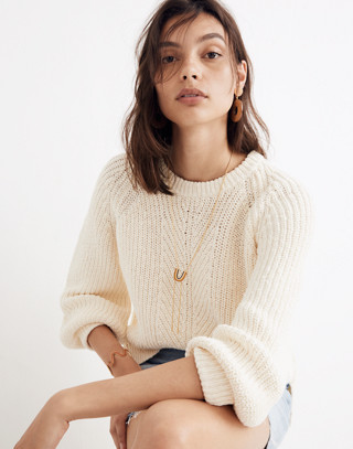 Balloon-Sleeve Pullover Sweater in bright ivory image 1
