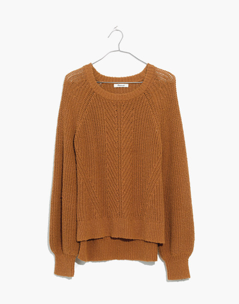 Balloon-Sleeve Pullover Sweater in egyptian gold image 1