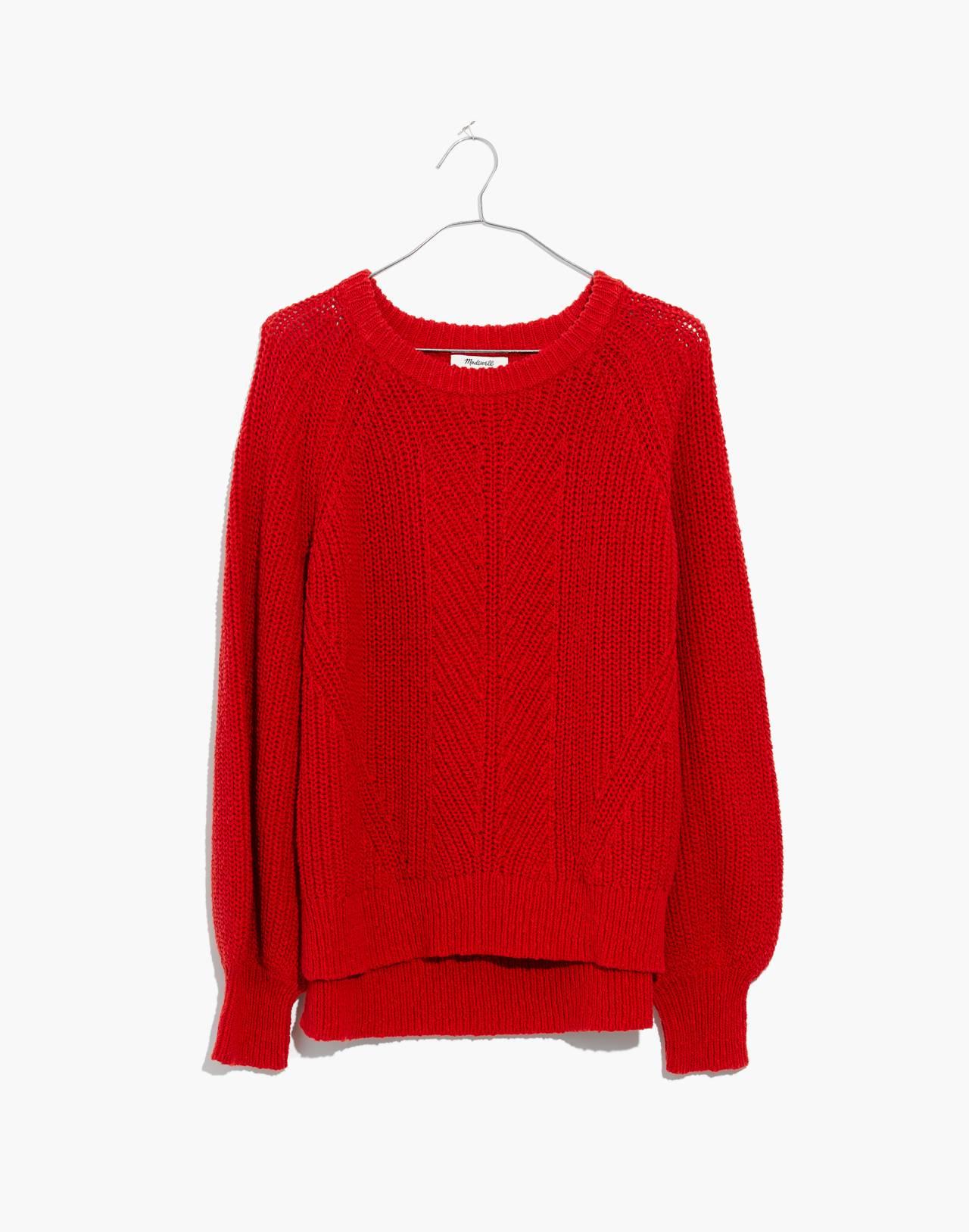 Balloon-Sleeve Pullover Sweater in bright scarlett image 1