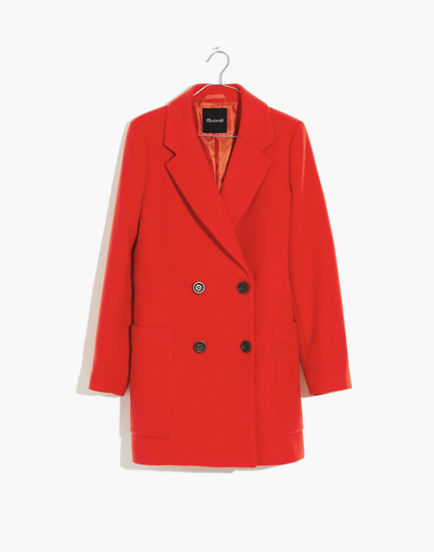 Hollis Double-Breasted Coat in bright poppy image 1