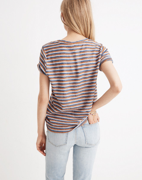 Alto Scoop Tee in Brookline Stripe in burnt sienna image 3