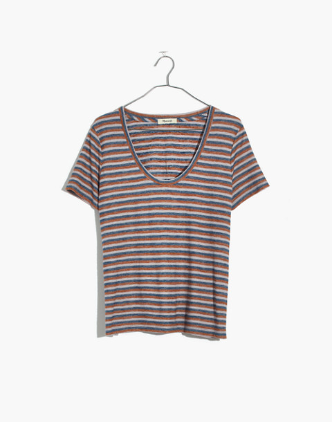 Alto Scoop Tee in Brookline Stripe in burnt sienna image 4