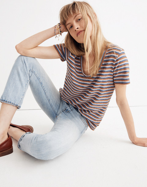 Alto Scoop Tee in Brookline Stripe in burnt sienna image 1