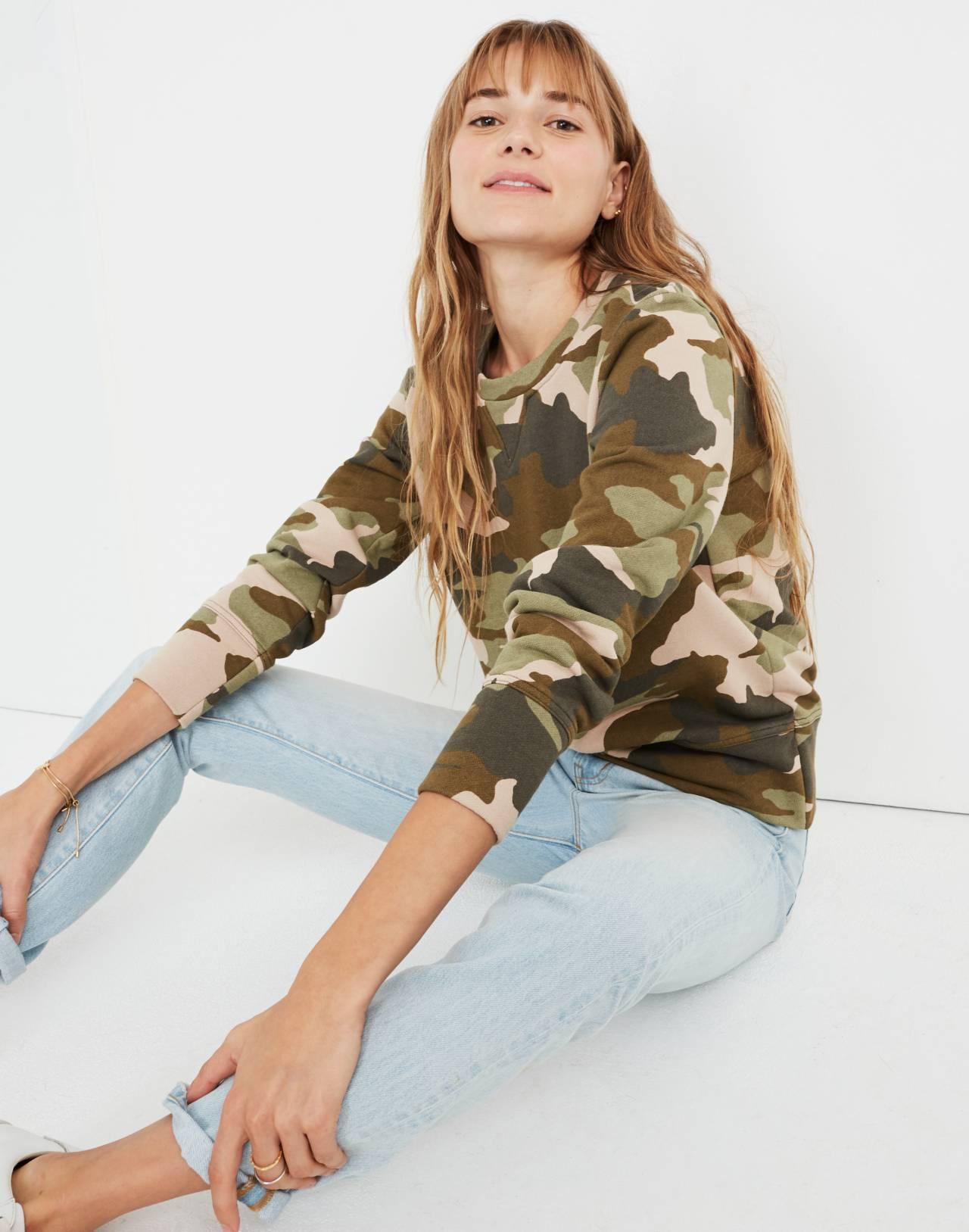 Crewneck Sweatshirt in Cottontail Camo in bunny camo asparagus image 1