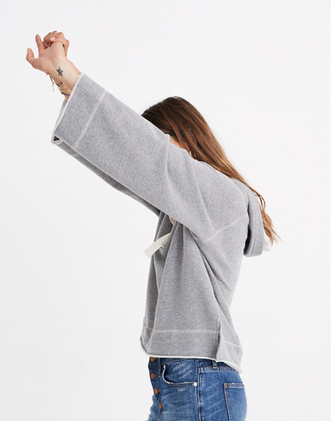 Raw-Edge Oversized Hoodie Sweatshirt in hthr stonewall image 2