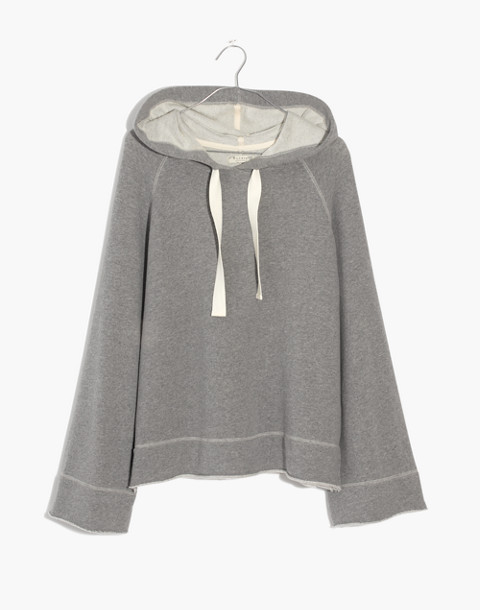 Raw-Edge Oversized Hoodie Sweatshirt in hthr stonewall image 4
