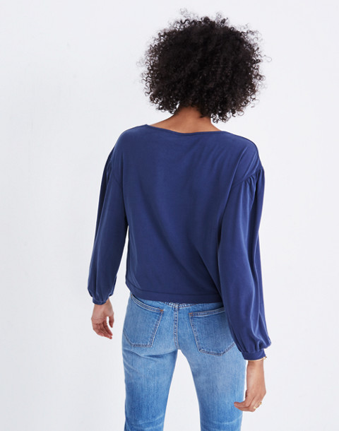 Sandwashed Gathered-Sleeve Top in juniper berry image 3