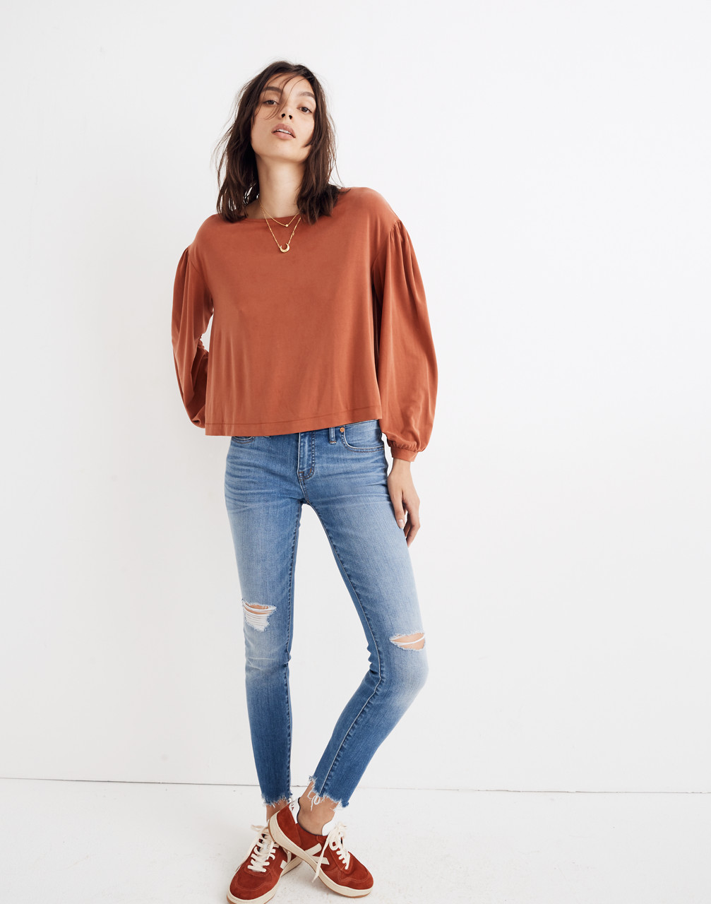 Sandwashed Gathered-Sleeve Top in rusty torch image 2