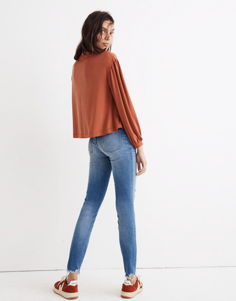 Sandwashed Gathered-Sleeve Top in rusty torch image 3