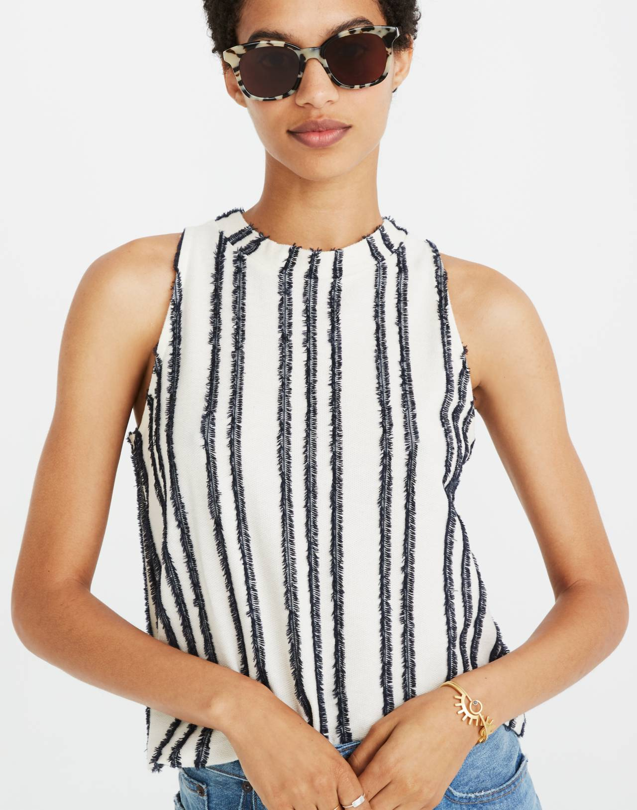 Texture & Thread Mockneck Swing Top in Stripe in bright ivory image 2