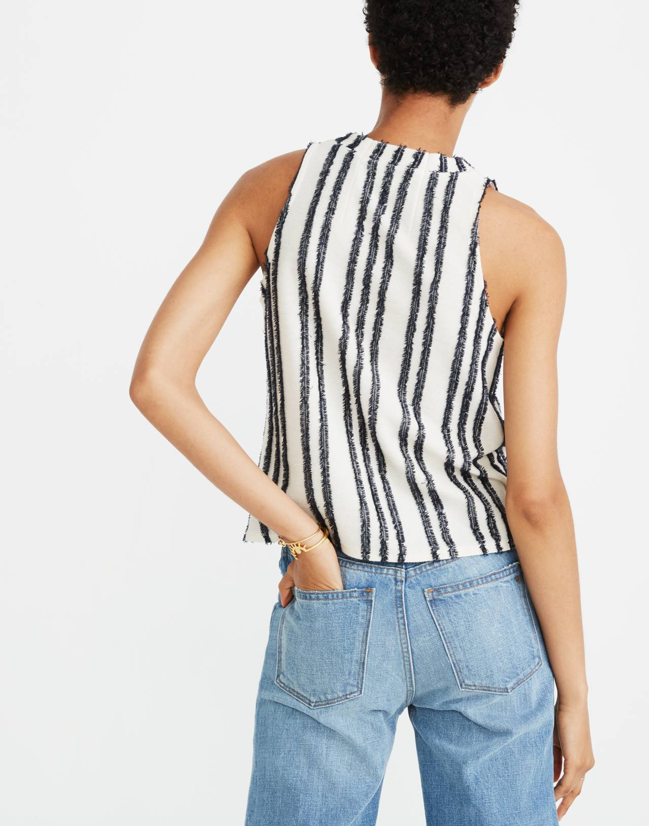 Texture & Thread Mockneck Swing Top in Stripe in bright ivory image 3