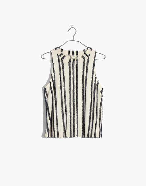 Texture & Thread Mockneck Swing Top in Stripe in bright ivory image 4
