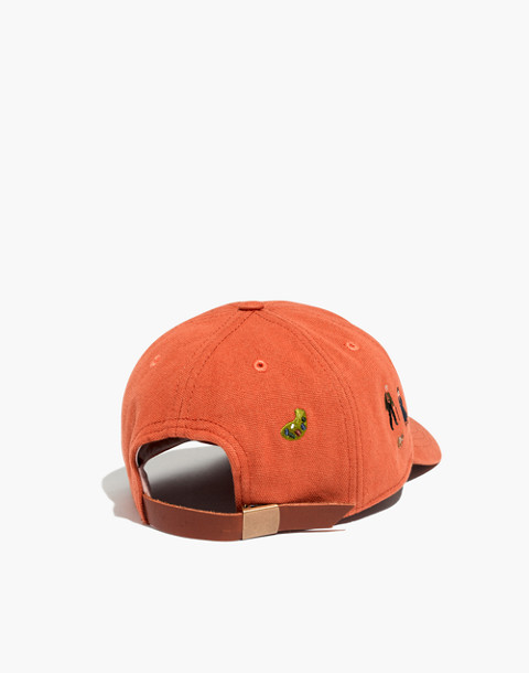 Embroidered Canvas Baseball Cap in El Rancho in afterglow red image 2