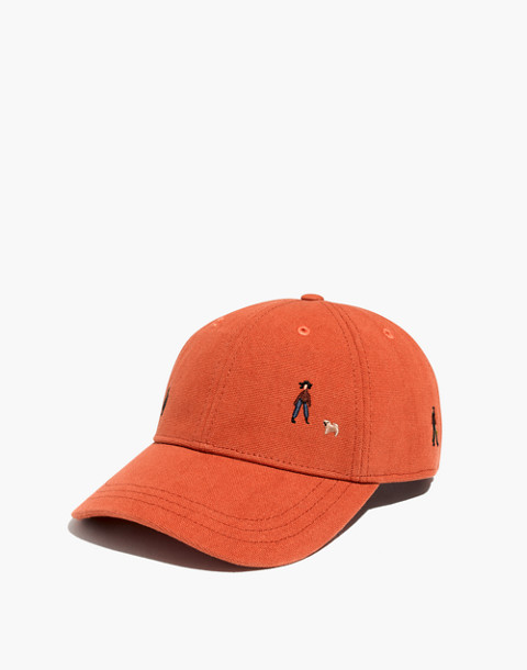 Embroidered Canvas Baseball Cap in El Rancho in afterglow red image 1