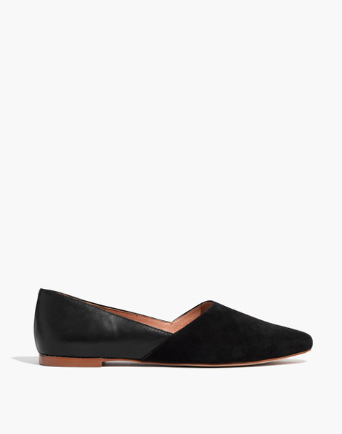 The Lizbeth Flat in Leather and Suede in true black image 2