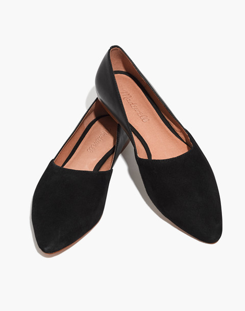 The Lizbeth Flat in Leather and Suede in true black image 1