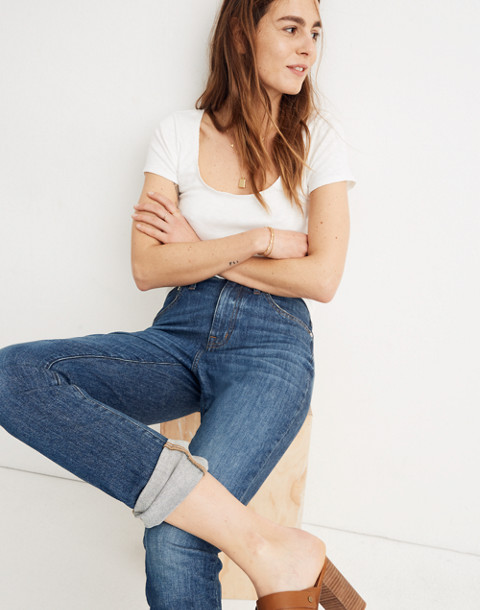 The Tall High-Rise Slim Boyjean: Eco Edition in rossie wash image 2