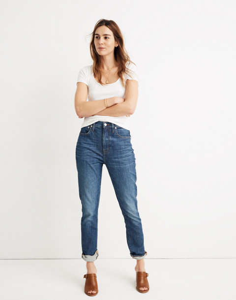 The Tall High-Rise Slim Boyjean: Eco Edition in rossie wash image 1