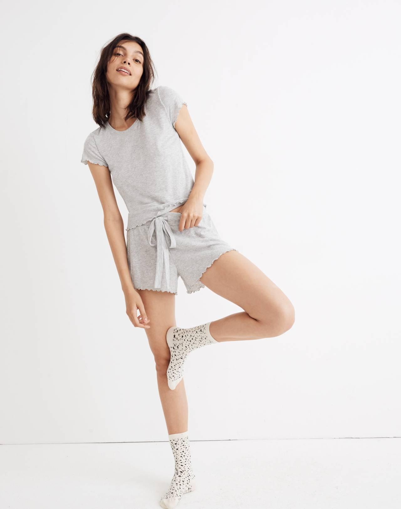 Ruffled Pajama Tee in hthr nickel image 2