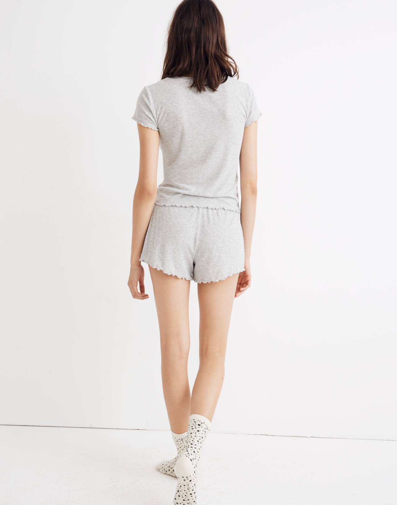 Ruffled Pajama Tee in hthr nickel image 3