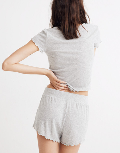 Ruffled Pajama Shorts in hthr nickel image 3