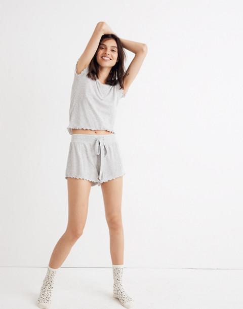 Ruffled Pajama Shorts in hthr nickel image 1
