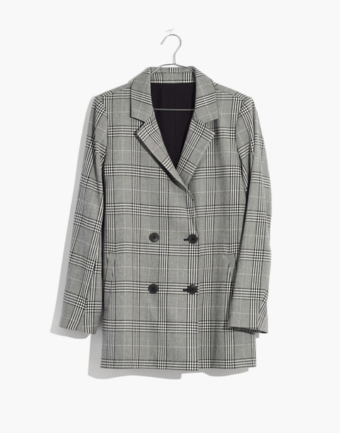 Caldwell Double-Breasted Blazer in Plaid in classic black image 4