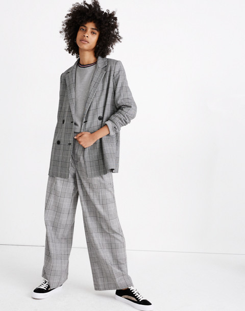 Caldwell Double-Breasted Blazer in Plaid in classic black image 1