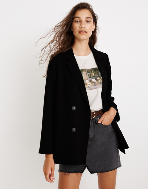 Caldwell Double-Breasted Blazer in true black image 1
