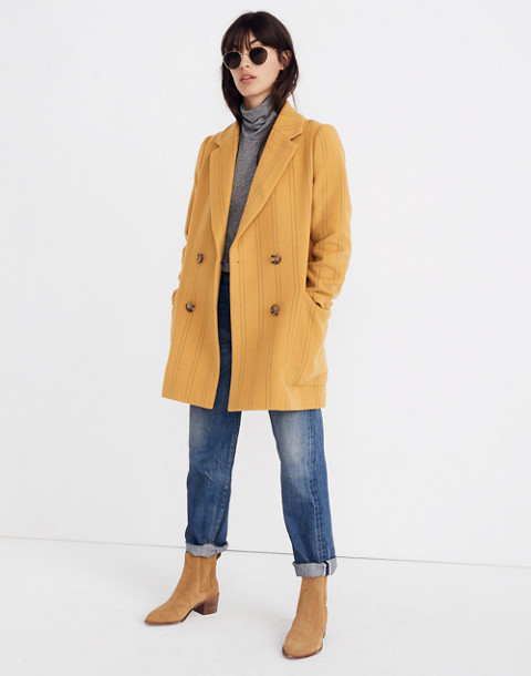 Madewell Hollis Double-Breasted Coat in Stripe