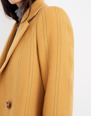 Hollis Double-Breasted Coat in Stripe in curry powder image 3