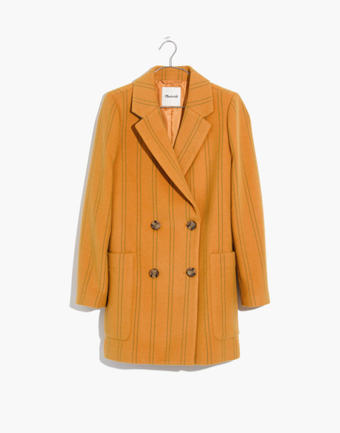 Hollis Double-Breasted Coat in Stripe in curry powder image 4
