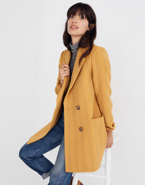Hollis Double-Breasted Coat in Stripe in curry powder image 1