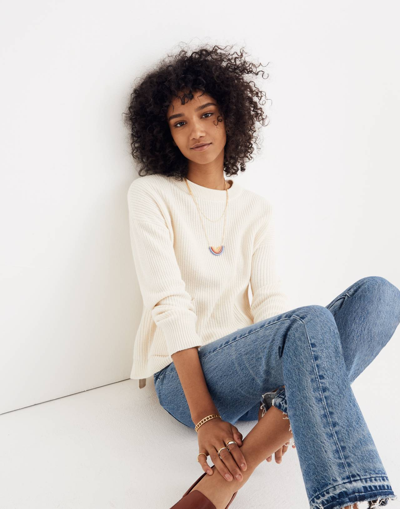 Patch Pocket Pullover Sweater in bright ivory image 2